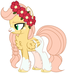 Size: 1280x1406 | Tagged: safe, artist:mintoria, oc, oc only, oc:bumble, pegasus, pony, cheek fluff, chest fluff, colored pupils, female, floral head wreath, flower, mare, markings, nose piercing, nose ring, piercing, simple background, solo, transparent background, unshorn fetlocks