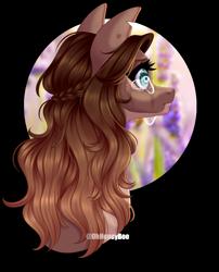 Size: 1242x1538 | Tagged: safe, artist:ohhoneybee, oc, oc:honey lavender, pony, bust, female, mare, portrait, simple background, solo, transparent background