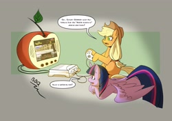 Size: 4096x2892 | Tagged: safe, artist:gryphon bbq, applejack, twilight sparkle, alicorn, earth pony, pony, animal crossing, apple pippin, controller, dexterous hooves, dialogue, duo, female, here's a tv that looks like an apple, hoof hold, implied sunset shimmer, mare, missing cutie mark, prone, speech bubble, television, twilight sparkle (alicorn), video game