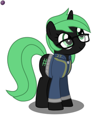 Size: 1080x1280 | Tagged: safe, artist:terminalhash, oc, oc only, oc:terminalhash, pony, unicorn, fallout equestria, clothes, fallout equestria: jazz of love, glasses, inkscape, simple background, solo, transparent background, vault suit, vector