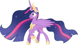 Size: 4449x2621 | Tagged: safe, artist:helenosprime, twilight sparkle, alicorn, pony, the last problem, crown, female, hoof shoes, jewelry, mare, princess twilight 2.0, puffy cheeks, raised hoof, regalia, simple background, solo, spread wings, transparent background, twilight sparkle (alicorn), wings