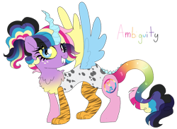 Size: 982x720 | Tagged: safe, artist:unoriginai, oc, oc only, oc:ambiguity, draconequus, hybrid, cute, draconequus oc, magical lesbian spawn, multiple parents, offspring, parent:applejack, parent:discord, parent:fluttershy, parent:pinkie pie, parent:rainbow dash, parent:rarity, parent:twilight sparkle, parents:omniship, simple background, solo, transparent background