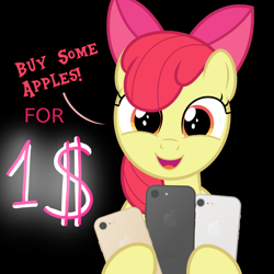 Size: 800x800 | Tagged: safe, artist:devfield, edit, apple bloom, earth pony, pony, accessories, adorabloom, apple (company), apple bloom's bow, applebetes, bow, bust, buy some apples, cellphone, cute, dialogue, female, filly, foal, hair bow, head tilt, holding, hoof hold, iphone, ipony, looking at you, open mouth, phone, product placement, pun, simple background, smartphone, smiling, smiling at you, solo, technology, text, transparent background, visual pun