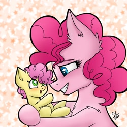 Size: 768x768 | Tagged: safe, artist:galaxy swirl, li'l cheese, pinkie pie, earth pony, pony, the last problem, blushing, chest fluff, cute, female, foal, male, mare, mother and child, mother and son, signature, weapons-grade cute