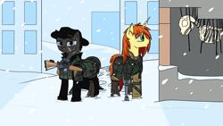 Size: 1920x1080 | Tagged: safe, artist:bluesyblues, artist:hunter992, oc, oc:ardent flame, oc:fury, earth pony, unicorn, fallout equestria, amputee, armor, bone, cripple, crippled, gun, handgun, hat, prosthetic leg, prosthetic limb, prosthetics, revolver, ruins, scar, service rifle, skeleton, snow, snowfall, soldiers, vanhoover, weapon, winter