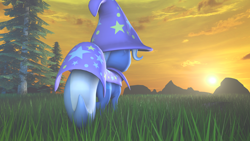 Size: 1920x1080 | Tagged: safe, artist:snow swirl, trixie, pony, unicorn, 3d, dawn, grass, grass field, solo, source filmmaker, sunrise