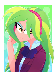 Size: 2280x2976 | Tagged: safe, artist:xan-gelx, lemon zest, equestria girls, friendship games, clothes, crystal prep academy uniform, female, headphones, high res, looking at you, necktie, school uniform, unamused