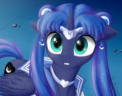 Size: 3800x3000 | Tagged: safe, artist:astery, derpibooru exclusive, princess luna, alicorn, pony, crossover, cute, female, high res, lunabetes, mare, sailor luna, sailor moon, sailor moon redraw meme, serena tsukino, solo, tsukino usagi