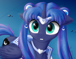 Size: 3800x3000 | Tagged: safe, artist:astery, princess luna, alicorn, pony, crossover, cute, female, high res, lunabetes, mare, sailor luna, sailor moon, sailor moon redraw meme, serena tsukino, solo, tsukino usagi