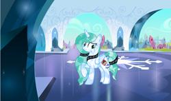 Size: 3193x1878 | Tagged: safe, artist:lominicinfinity, oc, oc:infinity mi rosalinda, alicorn, crystal pony, pony, crystallized, female, mare, solo