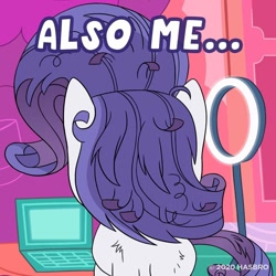 Size: 1080x1080   Tagged: safe, rarity, pony, unicorn, my little pony: pony life, computer, laptop computer, messy mane, official, solo