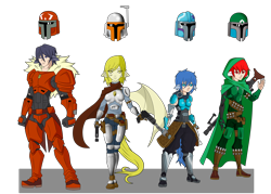 Size: 4200x3007 | Tagged: safe, artist:j053ph-d4n13l, oc, oc only, oc:blast buster, oc:night-flight, oc:pin point (ice1517), oc:quickfire, cyborg, human, amputee, armor, belt, blaster, boots, cape, clothes, commission, eared humanization, female, gloves, gun, handgun, helmet, holster, hood, humanized, humanized oc, knife, male, mandalorian, pants, pistol, pony coloring, pouch, prosthetic limb, prosthetics, rifle, scarf, shoes, simple background, sniper, sniper rifle, star wars, tailed humanization, tattoo, transparent background, weapon, winged humanization, wings