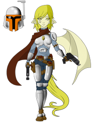 Size: 1700x2207 | Tagged: safe, artist:j053ph-d4n13l, oc, oc only, oc:quickfire, human, armor, belt, blaster, boots, clothes, eared humanization, female, gloves, gun, handgun, helmet, humanized, humanized oc, mandalorian, pants, pistol, pony coloring, pouch, scarf, shoes, simple background, solo, star wars, tailed humanization, tattoo, transparent background, weapon, winged humanization, wings