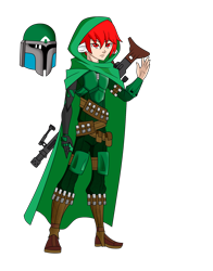 Size: 1700x2166 | Tagged: safe, artist:j053ph-d4n13l, oc, oc only, oc:pin point (ice1517), cyborg, human, amputee, armor, belt, boots, cape, clothes, eared humanization, gun, helmet, hood, humanized, humanized oc, male, mandalorian, pants, pouch, prosthetic limb, prosthetics, rifle, shoes, simple background, sniper, sniper rifle, solo, star wars, tailed humanization, transparent background, weapon