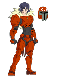 Size: 1700x2227 | Tagged: safe, artist:j053ph-d4n13l, oc, oc only, oc:blast buster, human, armor, belt, boots, clothes, eared humanization, gloves, helmet, humanized, humanized oc, male, mandalorian, pants, shoes, simple background, solo, star wars, tailed humanization, transparent background