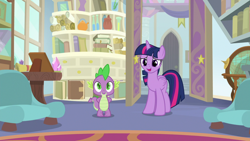 Size: 1920x1080 | Tagged: safe, screencap, spike, twilight sparkle, alicorn, dragon, a horse shoe-in, book, bookshelf, couch, scroll, starlight's office, twilight sparkle (alicorn), winged spike