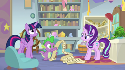 Size: 1920x1080 | Tagged: safe, screencap, phyllis, spike, starlight glimmer, twilight sparkle, alicorn, dragon, pony, unicorn, a horse shoe-in, book, bookshelf, chair, female, globe, list, male, mare, philodendron, potted plant, scroll, starlight's office, trio, twilight sparkle (alicorn), winged spike