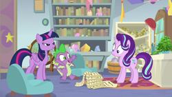 Size: 1920x1080 | Tagged: safe, screencap, phyllis, spike, starlight glimmer, twilight sparkle, alicorn, dragon, pony, unicorn, a horse shoe-in, book, bookshelf, female, globe, male, mare, mid-blink screencap, philodendron, potted plant, scroll, starlight's office, twilight sparkle (alicorn), winged spike
