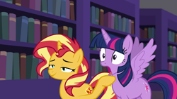 Size: 1280x720 | Tagged: safe, edit, edited screencap, screencap, sunset shimmer, twilight sparkle, alicorn, equestria girls, equestria girls series, forgotten friendship, book, bookgasm, bookshelf, canterlot library, jaw drop, library, shocked, smiling, smugset shimmer, spread wings, that pony sure does love books, twilight sparkle (alicorn), wingboner, wings