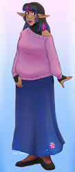 Size: 525x1200   Tagged: safe, artist:cottoncloudy, twilight sparkle, alicorn, human, chubby, clothes, elf ears, fingerless gloves, gloves, humanized, long skirt, skirt, solo, sweater, twilight sparkle (alicorn)