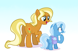 Size: 1095x760 | Tagged: safe, artist:doodledaydreamer, artist:doodledaydreamer-mlp, idw, sunflower spectacle, trixie, earth pony, pony, unicorn, spoiler:comic40, bag, duo, female, filly, filly trixie, idw showified, mare, mother and child, mother and daughter, nervous, race swap, saddle bag, simple background, white background, younger