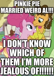 Size: 479x664 | Tagged: safe, edit, edited screencap, screencap, cheese sandwich, gummy, luster dawn, pinkie pie, the last problem, caption, cheesepie, cropped, duo focus, excessive exclamation marks, female, image macro, male, marriage, older, older cheese sandwich, older gummy, older pinkie pie, shipping, straight, text, weird al yankovic