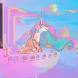 Size: 3200x3200 | Tagged: safe, artist:alumx, princess celestia, alicorn, pony, balcony, clothes, cloud, coffee, glowing horn, hand, horn, magic, magic hands, morning ponies, robe, sky, solo