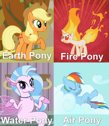 Size: 690x795 | Tagged: safe, edit, edited screencap, screencap, applejack, rainbow dash, silverstream, twilight sparkle, earth pony, fire pony, original species, pony, seapony (g4), unicorn, water pony, feeling pinkie keen, school daze, air pony, avatar the last airbender, four nations meme, meme, quartet, rapidash twilight, seapony silverstream, unicorn twilight