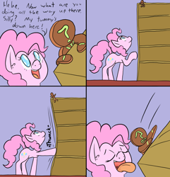 Size: 1000x1038 | Tagged: safe, artist:happy harvey, pinkie pie, oc, oc:anon, earth pony, pony, catching, colored pupils, comic, cookie, cutie mark, dialogue, drawn on phone, ear fluff, escape, eyes closed, falling, food, gingerbread man, imminent vore, inanimate tf, kick, kicking, micro, open mouth, pinkie pred, shelf, size difference, smiling, this will end in death, tongue out, transformation