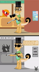 Size: 1385x2524 | Tagged: safe, artist:wheatley r.h., derpibooru exclusive, kevin (changeling), oc, oc:myoozik the dragon, changeling, dragon, earth pony, pony, 2 panel comic, bank, black and white, clothes, comic, cutie mark, cutie mark on clothes, dragon oc, female, food, glasses, grayscale, gun, hat, male, mane, mare, monochrome, movie reference, pepper, poster, red eyes, salt, shotgun, speech bubble, sunglasses, they live, top hat, watermark, weapon