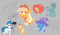 Size: 1858x1080 | Tagged: safe, artist:another_pony, applejack, dj pon-3, lyra heartstrings, octavia melody, phyllis, pinkie pie, starlight glimmer, trixie, twilight sparkle, vinyl scratch, earth pony, pony, unicorn, apple, doodle, female, food, lesbian, scratchtavia, shipping, sketch, sketch dump