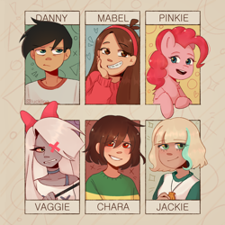 Size: 2000x2000 | Tagged: safe, artist:qutiiex, pinkie pie, earth pony, human, pony, six fanarts, bow, bust, chara, clothes, crossover, danny fenton, danny phantom, female, gravity falls, hair bow, hair over one eye, hazbin hotel, headband, jackie lynn thomas, mabel pines, male, mare, smiling, star vs the forces of evil, undertale, vaggie