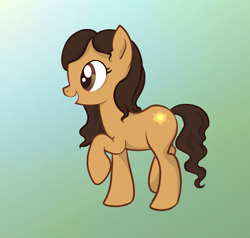 Size: 1736x1653 | Tagged: safe, artist:quas-von-ue, oc, oc only, oc:sunshine melody, earth pony, pony, earth pony oc, female, gradient background, mare, open mouth, raised hoof, smiling, solo