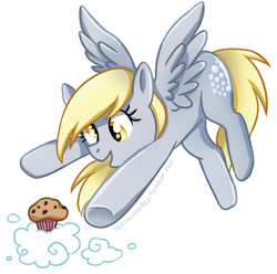 Size: 691x685 | Tagged: safe, artist:tsurime, derpy hooves, pegasus, pony, cloud, cute, derpabetes, female, food, mare, muffin, open mouth, simple background, solo, that pony sure does love muffins, white background