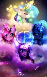 Size: 489x800 | Tagged: safe, artist:mazeness, princess cadance, princess celestia, princess luna, twilight sparkle, alicorn, alicorn tetrarchy, eyes closed, glowing horn, horn, royal sisters, twilight sparkle (alicorn)