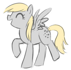 Size: 625x609 | Tagged: safe, artist:tsurime, derpy hooves, pegasus, pony, cute, derpabetes, eyes closed, female, mare, open mouth, profile, simple background, solo, white background
