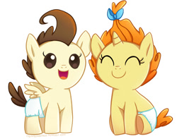 Size: 920x726 | Tagged: safe, artist:tsurime, pound cake, pumpkin cake, pegasus, pony, unicorn, baby, baby pony, cake twins, duo, eyes closed, open mouth, siblings, simple background, smiling, twins, white background