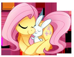 Size: 480x367 | Tagged: safe, artist:tsurime, angel bunny, fluttershy, pegasus, pony, rabbit, angelbetes, animal, cuddling, cute, duo, eyes closed, female, hug, mare, prone, shyabetes, simple background, transparent background