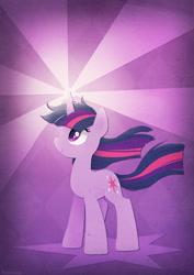 Size: 496x701 | Tagged: safe, artist:tsurime, twilight sparkle, pony, unicorn, crepuscular rays, cute, female, glowing horn, horn, magic, mare, profile, purple background, simple background, smiling, solo, standing, twiabetes, unicorn twilight, windswept mane