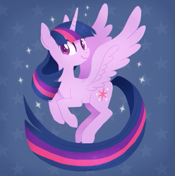 Size: 591x595 | Tagged: safe, artist:tsurime, twilight sparkle, alicorn, pony, blue background, cute, female, flying, long tail, mare, simple background, smiling, solo, spread wings, starry eyes, stars, twiabetes, twilight sparkle (alicorn), wingding eyes, wings