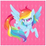 Size: 409x411 | Tagged: safe, artist:tsurime, rainbow dash, pegasus, pony, cutie mark eyes, female, flying, mare, pink background, simple background, smiling, solo, spread wings, unshorn fetlocks, wingding eyes, wings