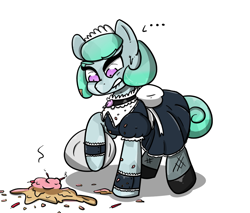 Size: 1305x1110 | Tagged: safe, artist:n-o-n, oc, oc:pristine polish, crystal pony, pony, cake, candle, clothes, embarrassed, food, maid, solo