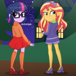 Size: 2000x2000   Tagged: safe, artist:artmlpk, sci-twi, sunset shimmer, twilight sparkle, equestria girls, adorkable, alternate hairstyle, beautiful, clothes, cosplay, costume, cute, daphne blake, digital art, dork, duo, female, house, looking back, night, scooby doo, shimmerbetes, short hair, socks, tree, twiabetes, velma dinkley