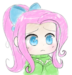 Size: 771x809 | Tagged: safe, artist:pegacornss, fluttershy, human, alternate hairstyle, bow, bust, clothes, cute, female, hair bow, humanized, ponytail, shyabetes, simple background, solo, sweater, sweatershy, white background