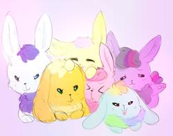 Size: 869x681   Tagged: safe, artist:pegacornss, applejack, fluttershy, pinkie pie, rainbow dash, rarity, twilight sparkle, rabbit, ><, bunnified, bunny pie, bunny sparkle, bunnyjack, bunnyshy, cute, eyes closed, female, fluffy, looking at you, mane six, open mouth, rabbit dash, rabbity, species swap