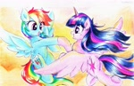 Size: 3520x2284 | Tagged: safe, artist:liaaqila, rainbow dash, twilight sparkle, alicorn, pegasus, pony, female, flying, hoofbump, lesbian, mare, shipping, traditional art, twidash, twilight sparkle (alicorn), watercolor painting