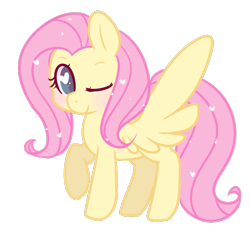 Size: 673x619 | Tagged: safe, artist:pegacornss, fluttershy, pegasus, pony, cute, female, heart, heart eyes, mare, one eye closed, raised hoof, shyabetes, simple background, smiling, solo, spread wings, standing, transparent background, wingding eyes, wings, wink
