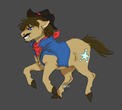 Size: 1200x1087 | Tagged: safe, artist:rahartist, sheriff silverstar, earth pony, pony, bandana, black background, chest fluff, colored hooves, cowboy hat, hat, leg fluff, male, nudity, profile, sheath, simple background, solo, stallion