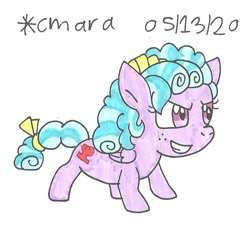 Size: 788x789 | Tagged: safe, artist:cmara, cozy glow, pegasus, pony, antagonist, badass, badass adorable, bow, cozybetes, cute, female, filly, freckles, grin, mane bow, smiling, solo, tail bow, traditional art