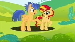Size: 1024x576 | Tagged: safe, artist:thunderlime374, flash sentry, sunset shimmer, female, flashimmer, male, shipping, straight